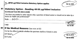 """""""Statutory Option"""" rather than requirement to provide blood or urine samples"""